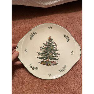 SPODE CHRISTMAS TREE SERVING PLATTER CHOP 12 in